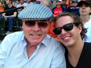 With son Shannon watching the Orioles